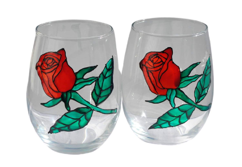 Amazon Com Red Rose Stemless Hand Painted Wine Glasses Set Of 2 Valentine Home Decor Handmade
