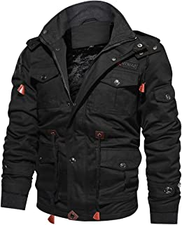 f7aba9fca70f8 TACVASEN Men's Winter Thick Fleece Lined Cargo Military Jackets Casual  Cotton Hoodies with Multi Pockets