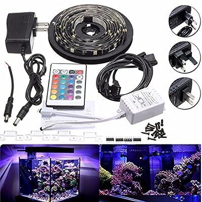 4 x 50cm 5050 RGB LED Strip Light Color Changing Mood Lighting TV Background Fish Tank Lamp DC12V (Random: Plug)