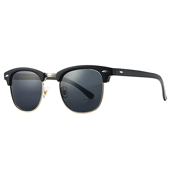 Amazon.com: Pro Acme Classic Semi Rimless Polarized Clubmaster Sunglasses with Metal Rivets (Baby Matte Black/Grey/Gold Rimmed - With CASE): Clothing