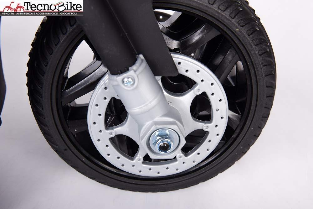 Tecnobike Shop Moto Elettrica per Bambini 6V Motocicletta Police Polizia Bianco
