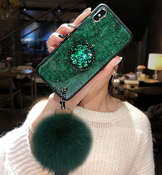 low priced 587ab 4e911 iPhone Xs Case,iPhone X Case,Fashion Green Marble Cover with Rabbit Fur  Hairball Phone Case for iPhone Xs/X 5.8-inch,A6