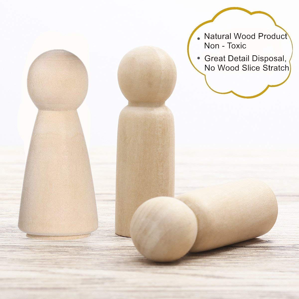 2.55 Unfinished Wood Doll Bodies Angel Doll Body Peg 10-Man,10-Women 20 Pieces 65 mm Wooden Doll People for Kids Art and Creative DIY Craft