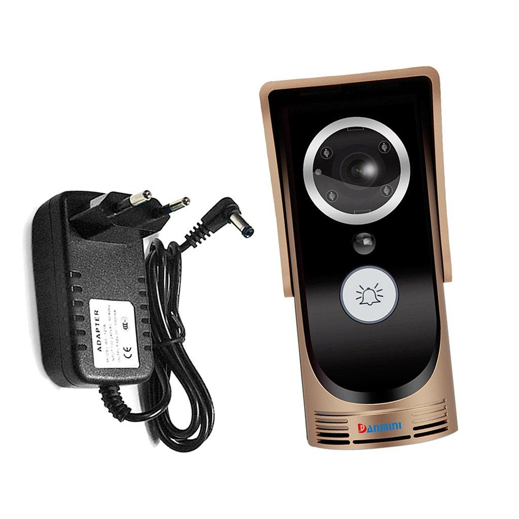 Fenteer Wifi Video Türsprechanlage Türklingel Gegensprechanlage Intercom System mit Netzteil (EU-Stecker) - Gold
