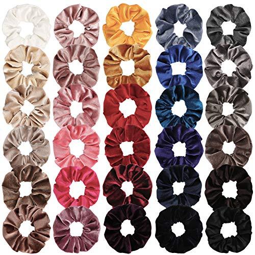 Ondder 30 Pack Velvet Scrunchies for Hair Elastics Bobbles Hair Ties Ropes Scrunchie Hair Bands Scrunchy Women's Scrunchies Ponytail Holder, 30 Colors (30 PCS Velvet Hair Scrunchies) (Red Rose Lemon Chiffon)