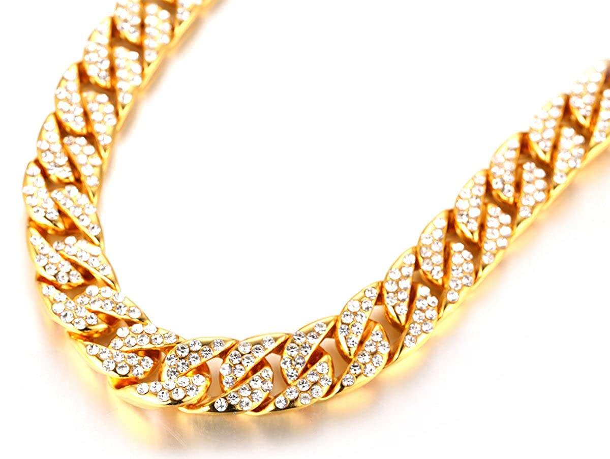 60cm Halukakah ● Bling ● Mens 18k Real Gold//Platinum Plated Artificial Diamond Set Big Cuban Chain Necklace 18 with Free Giftbox Bracelet 8.5 22cm //30 75cm 45cm //24