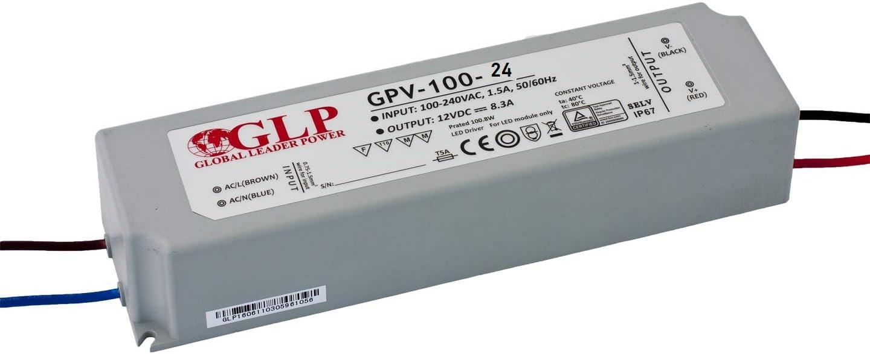 LED24.cc GPV-100 - Controlador de tiras led (100 W, fuente de alimentación IP67, transformador de 100 W, para interior y exterior), Gris