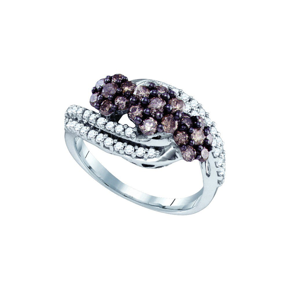 10K White Gold Brandy Diamond Chocolate Brown Double Row Triple Flower Design Ring 7/8 Ctw.