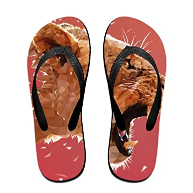Couple Flip Flops Tigers Print Chic Sandals Slipper Rubber Non-Slip Beach Thong Slippers