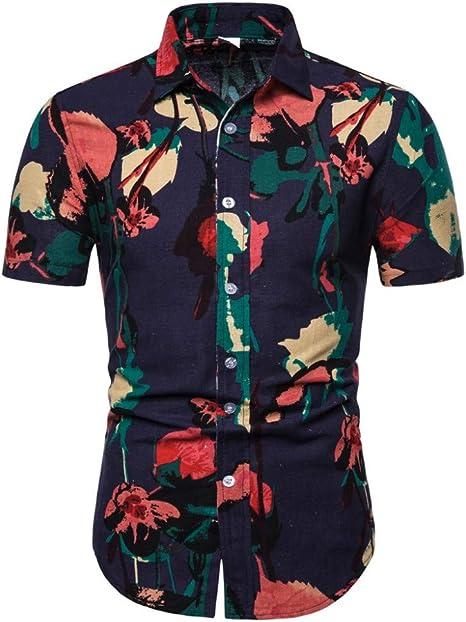 CHENS Camisa/Casual/Unisex/XL Camisa de Verano para Hombre Tallas Grandes Camisas Hawaiana Moda Estampado Floral Turndown Cuello de Manga Corta Top Camisa Blusa Ropa: Amazon.es: Deportes y aire libre
