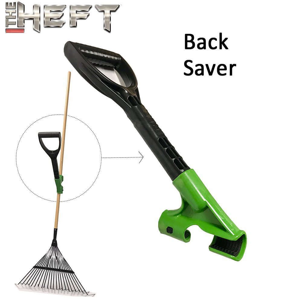 The HEFT Ergonomic Handle for Raking Leaves and Use on thinner Garden Tools for Pain Free Gardening. Eliminates Bending and Shoulder Pain.