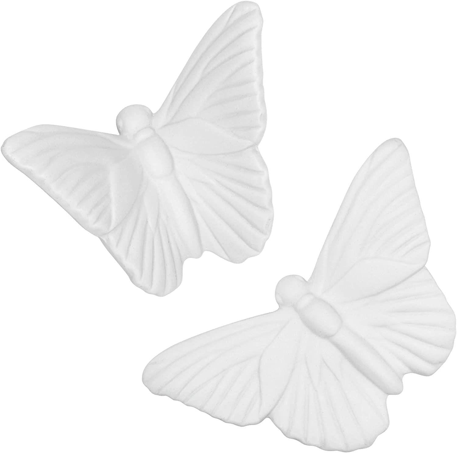 Dorlotou Ceramic Butterfly White Wall Decor Hanging Gift for Home Livingroom Garden Wall Sculptures,One Pair Large