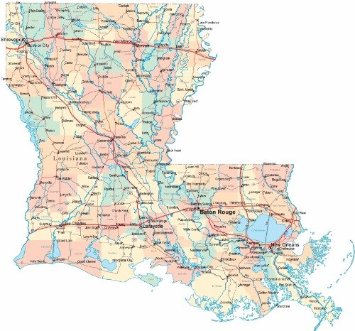 - LOUISIANA ROAD MAP GLOSSY POSTER PICTURE PHOTO state saints city county la
