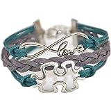 ACUNION™ Handmade Infinity Tortoise Angel Wings Owl Butterfly Anchor Brids Heart Best Friend Charm Friendship Gift Leather Bracelet