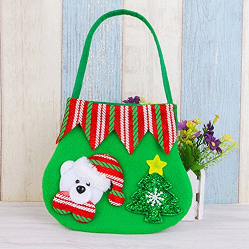 MONOMONO-Snowman Christmas Candy Gift Bags Xmas Santa Claus Handbags Ornament Home Decor (bear)