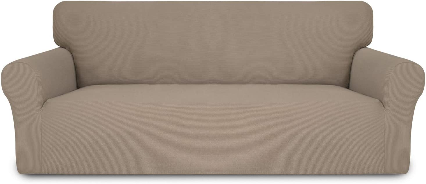 Easy-Going Thickened Stretch Slipcover, Sofa Cover, Furniture Protector with Elastic Bottom, 1 Piece Couch Shield, Sturdy Fabric for Pets,Kids,Children,Dog (Oversized Sofa,Camel)