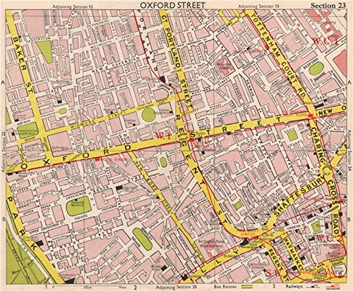 LONDON W1 Marylebone Mayfair Soho Fitzrovia West End Bloomsbury. BACON - 1959 - old map - antique map - vintage map - printed maps of - Map Mayfair