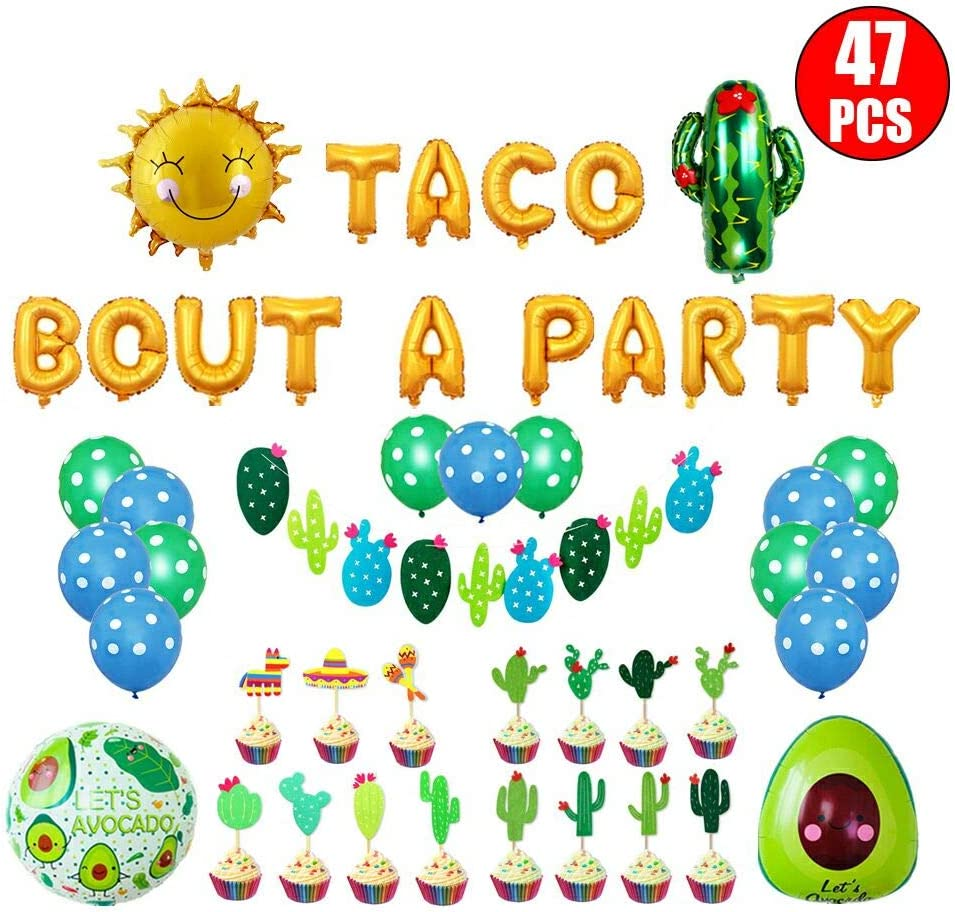"""Party Decoration Supplies Set Taco About A Party Foil Ballons 18""""Foil Ballons 2nd Fiesta BirthdayDecoration 47pcs Cinco De Mayo,Luau Party Decorations (Style 1)"""