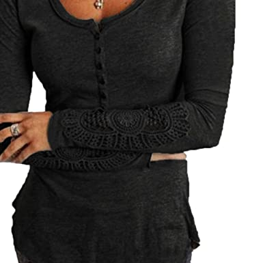 5a91f2fc Jotebriyo Women's Long Sleeve Plus Size Lace Stitch Bottoming Shirt Buttons  Trim Round Neck Top T-Shirt Blouse at Amazon Women's Clothing store: