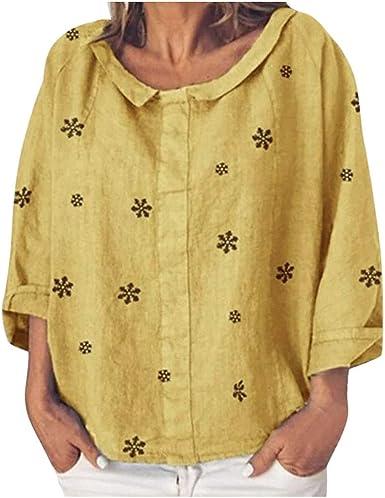 Luckycat Tops Mujer Camiseta Manga Corta de algodón con Volantes Sólidos Camisas de Mujer Talla Grande Blusa Casual Elegantes: Amazon.es: Ropa y accesorios