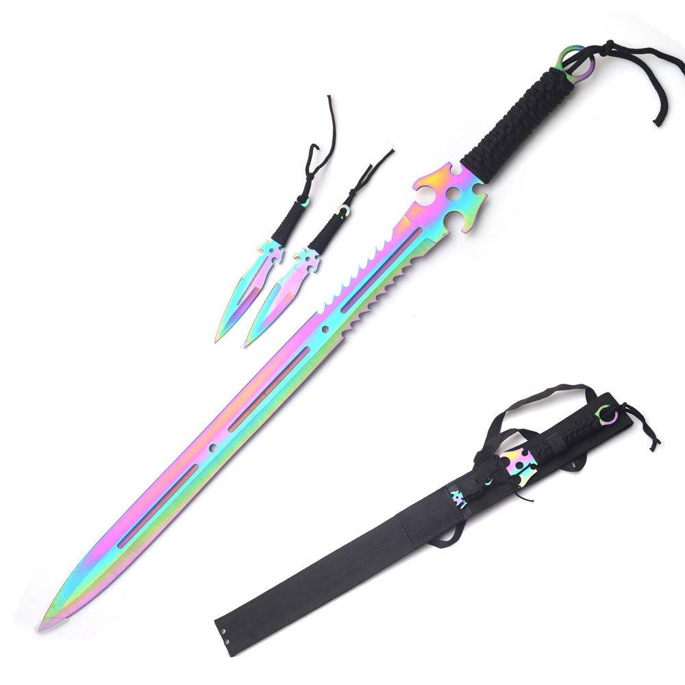 Snake Eye Full Tang Tactical Blade Katana/Ninja Sword/Machete/Throwing Knife, 27-Inch (Rainbow)