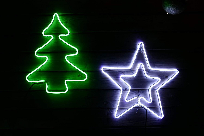 Weihnachtsstern 30x30cm Neon-Stern f/ür Fenster au/ßen 120 LED kaltwei/ß