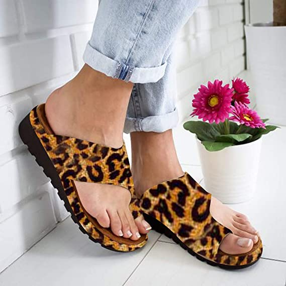 Amazon.com: Sharemen Womens Summer Fashion Slippers Retro Leopard Thick Bottom Toe Sandals Slippers Non-Slip Casual Shoes(Yellow,US: 6): Clothing