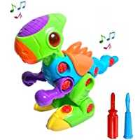 FMT Take-A-Part Take Apart Dinosaur Toy for Boys and Girls Toddlers and Kids with Lights and Sounds Include 2 Screwdrivers for Assembly Building Blocks Tools Play Set