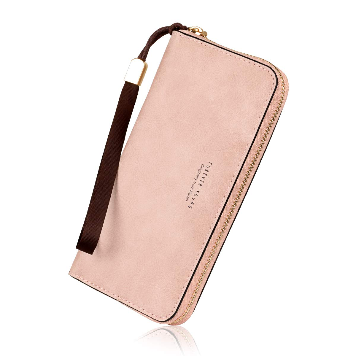 Wallets for Women, Long Leather Checkbook Card Holder Purse Zipper Buckle Elegant Clutch Ladies Wallet Coin Purse (Pink)