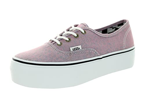 e41945b746 Vans Women s Authentic Platform Canvas Lace-Up Trainer Washed Denim Pink- Pink-3