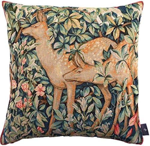 jacquard woven belgian gobelin tapestry cushion throw pillow cover pheasant
