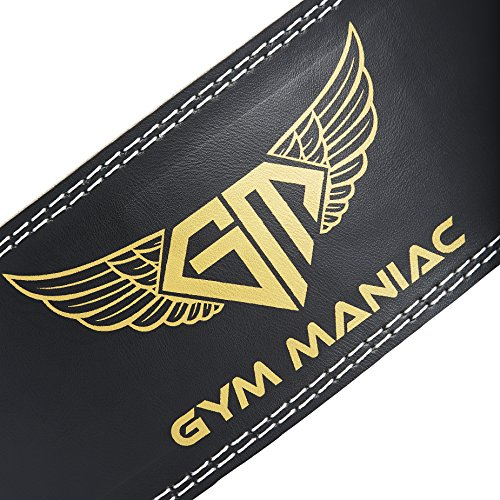 Gym Maniac Weight Lifting Waist Gym Belt | Adjustable Size, 2 Prong Buckle, Comfy Suede, Reinforced Stitching | Support Your Back & Alleviate Pains | For CrossFit, Squats, Bench Press, Fitness & More