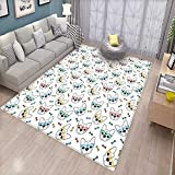 Dog Lover Floor Mat for Kids Hipster Inspired Canine Heads with Colorful Glasses Bones Background Animal Fun Bath Mat Non Slip Multicolor