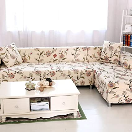 WOMACO L Shape Sofa Covers Sectional Sofa Cover 2 pcs Stretch Sofa  Slipcovers for L-Shape Couch (XL L-Shape Sofa, Flower #1)