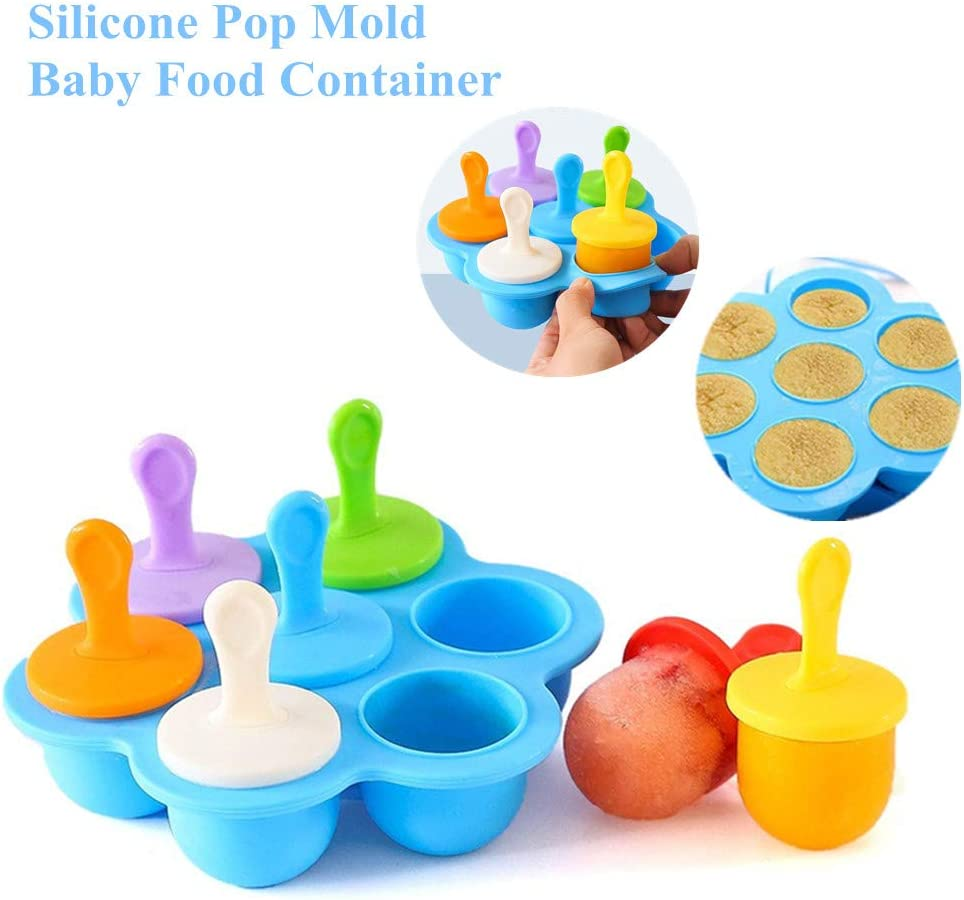 Silicone Popsicle Molds, Mini 7-cavity Ice Pop Molds,Reusable Ice Popsicle Mold with Sticks,Non-Stick Food Grade Popsicle Makers as Baby Food Freezer Trays
