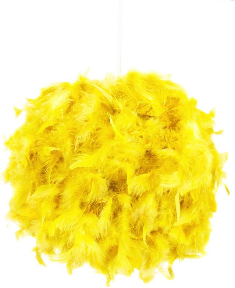Abat-jour suspendu accrocheur et moderne en plumes jaunes d/écor/ées par Happy Homewares