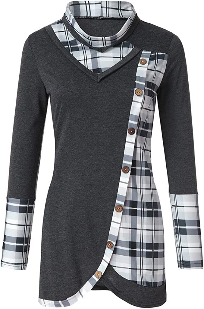 YWLINK Mode Frauen Pullover Freizeit Seitliche Tasten Plaid Patchwork O Kragen Asymmetrie Lange Tunika Damen T Shirt Tops Bluse Plus Size