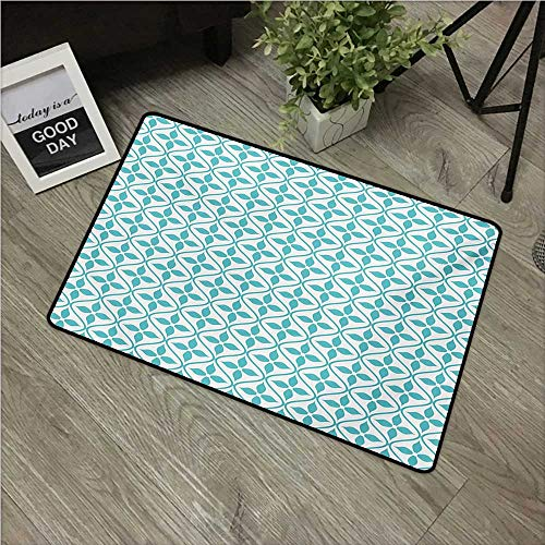 """HRoomDecor Contemporary,All Weather Door Mats Vertical Wavy Lines with Flowers Fresh Spring Season Themed Tile W 24"""" x L 35"""" Printing Non-Slip Floor Mat Turquoise and White"""