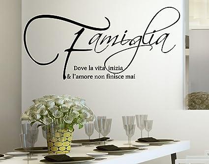 Frasi Sulla Famiglia.Wall Stickers Adesivo Murale Frase Citazione Famiglia Amore E Vita