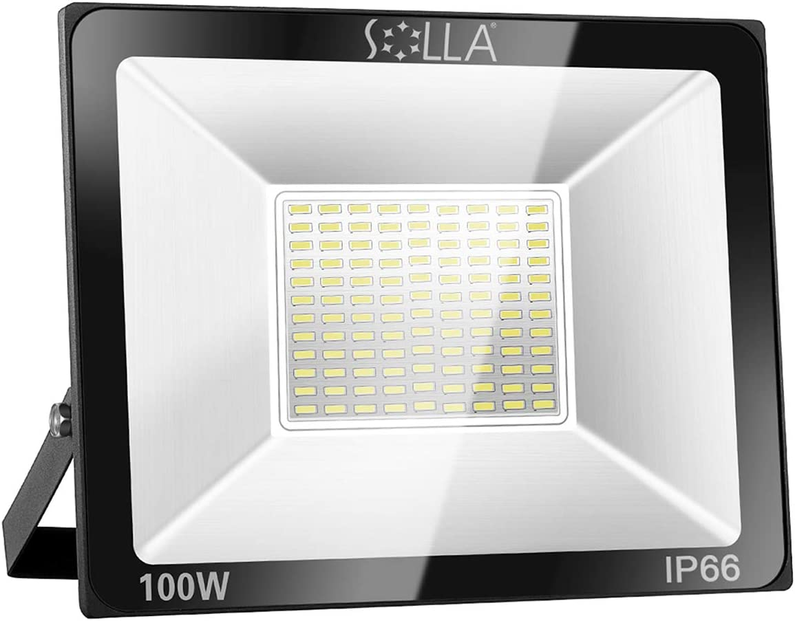 SOLLA 100W LED Flood Light, IP66 Waterproof, 8000lm, 550W Equivalent, Super Bright Outdoor Security Lights, 3000K Warm White, Outdoor Floodlight for Garage, Garden, Lawn and Yard - -