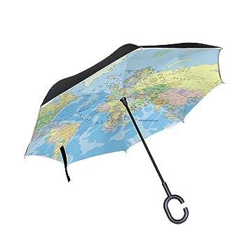 jstel doble capa puede dworld mapa paraguas coches Reverse resistente al viento lluvia paraguas para coche