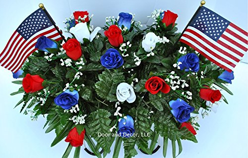 Patriotic Cemetery Headstone Flowers in Red White and Blue Roses with Flags