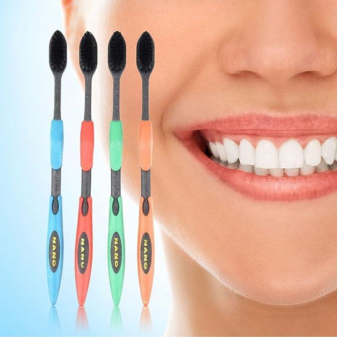 4 cepillos de dientes ulables de bambú de carbón vegetal para cuidado bucal para las encías sensibles.: Amazon.es: Belleza