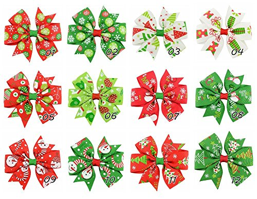 Benala Baby Girl Grosgrain Ribbon Boutique Christmas Hair Bows Alligator Clips 10Pcs ()