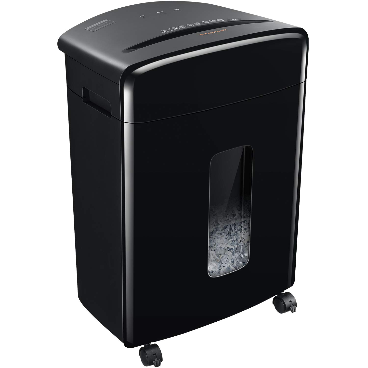 Bonsaii 20-Sheet Heavy Duty Cross-Cut Paper/CD/Credit Card Shredder with 6.6 Gallon Pullout Basket and 4 Casters, 20 Minutes Running Time, Black (C222-A) by bonsaii