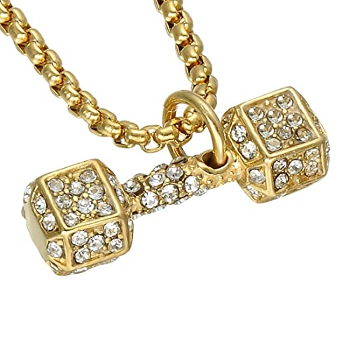 FUBULECY Collar de Cristal con Incrustaciones con Mancuernas de Acero Titanium, Deportes, Gimnasio,
