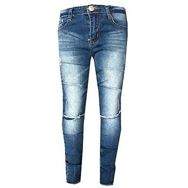 347ba44f6e0dd A2Z 4 Kids® Girls Stretchy Jeans Kids Blue Denim Ripped Pants Fashion  Frayed Trousers Jeggings Age 5 ...