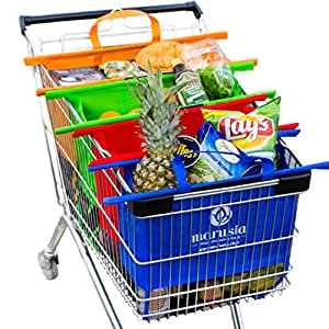 Trolley Bags - Premium Foldable Cart Bags - Grocery Tote Bag with Velcro - Optimal US Size Reusable Grocery Bags Set - Smart Shopping Bags - Marusia