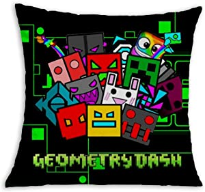 Geo-me-Try Green Dash Soft Square Pillow Throw Case 18 X 18 inch Covers Set Cushion Pillowcase Sofa