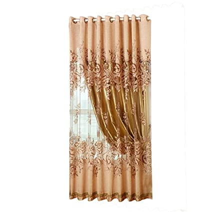Buy Generic 250*100cm Peony Pattern Voile Curtain Living Room Window ...